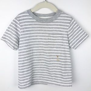 Carter's - 3T Boys Gray and White Striped T-Shirt